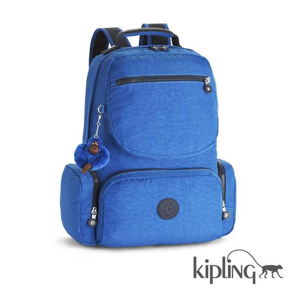 Kipling 雲彩霧藍素面後背包-大