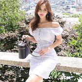 VK精品服飾 韓版氣質一字領復古系帶修身收腰時尚短袖洋裝