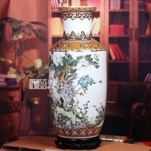 景德鎮陶瓷器粉彩大花瓶仙鶴指路牡丹冬瓜