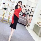 連衣裙女夏2018新款韓版氣質拼色中長款V領無袖修身包臀魚尾裙子