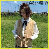 背心外套-韓版復古純色氣質百搭工裝背心外套-艾尚精品 艾尚精品