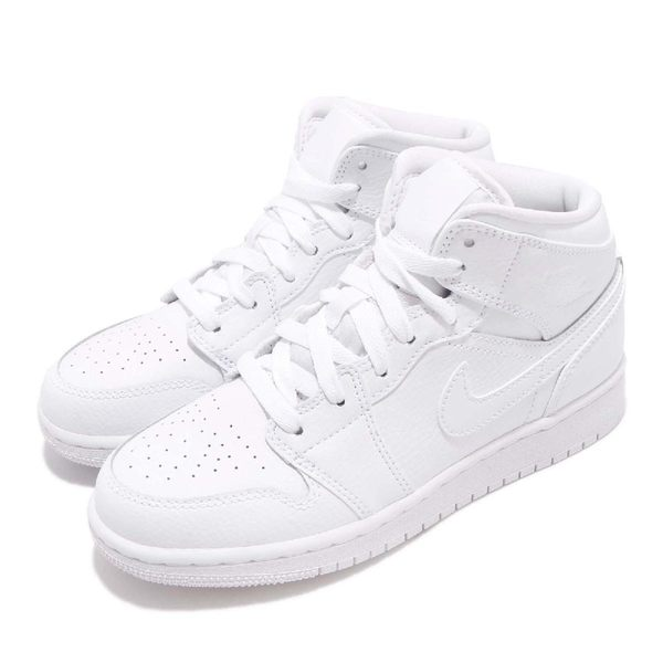 Nike Air Jordan 1 Mid BG 白 全白 喬丹 1代 AJ1 中筒 女鞋 大童鞋 運動鞋【PUMP306】 554725-129