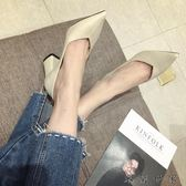 粗跟純色單鞋尖頭淺口高跟鞋工作鞋