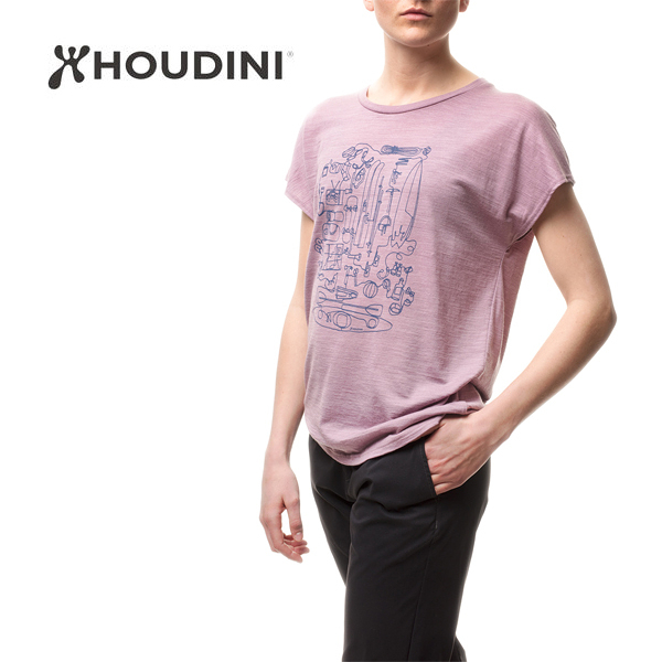 [瑞典  HOUDINI ] W's Activist Message Tee 羊毛混紡短袖印花T恤 女款 (晨光紫)