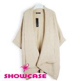 【SHOWCASE】大翻領落肩寬版針織罩衫(杏)-冬季保暖