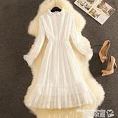 蕾絲洋裝 白色中長款氣質蕾絲連身裙女2021秋冬穿搭新款顯瘦內搭打底裙 曼慕