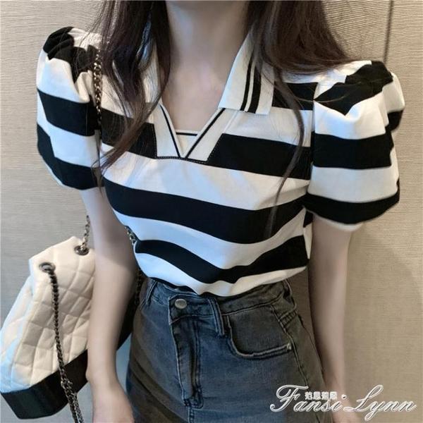 泡泡袖上衣女夏季2020新款港風寬鬆撞色POLO衫黑白條紋短袖T恤ins 范思蓮恩