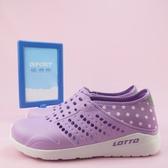 【iSport愛運動】LOTTO 波點洞洞鞋 反光設計 懶人鞋 LT9AWS0367 粉紫 女款
