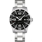 LONGINES 浪琴 征服者300米潛水石英腕錶/手錶-黑x銀/44mm L38404566
