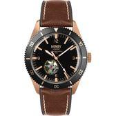 【台南 時代鐘錶 Henry London】英倫復古風潮 運動風格機械錶 HL42-AS-0330 黑/玫瑰金 42mm