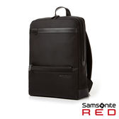 Samsonite RED  MERIK  簡約皮革拼接筆電後背包14 (炭黑)
