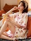 2021新款睡衣女夏季純棉卡通短袖女士休閒薄款春秋家居服兩件套裝「時尚彩紅屋」