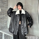 皮衣 秋冬2021新款韓版寬鬆加絨加厚中長款仿羊羔毛長袖PU皮衣外套女裝 曼慕