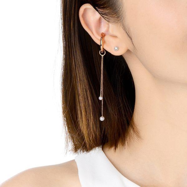 點睛品 Ear Play 18K玫瑰金珍珠垂吊耳飾