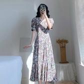 V領洋裝連身裙S-XL新款碎花雪紡連衣裙H318-D-6833.1號公館