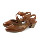 HUMAN PEACE 涼鞋 低跟鞋 粗跟 咖啡色 真皮 女鞋 9000-05 no071