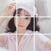 玫瑰刺繡睡衣女夏短袖短褲套裝緞面薄款眼罩家居服三件套 俏女孩