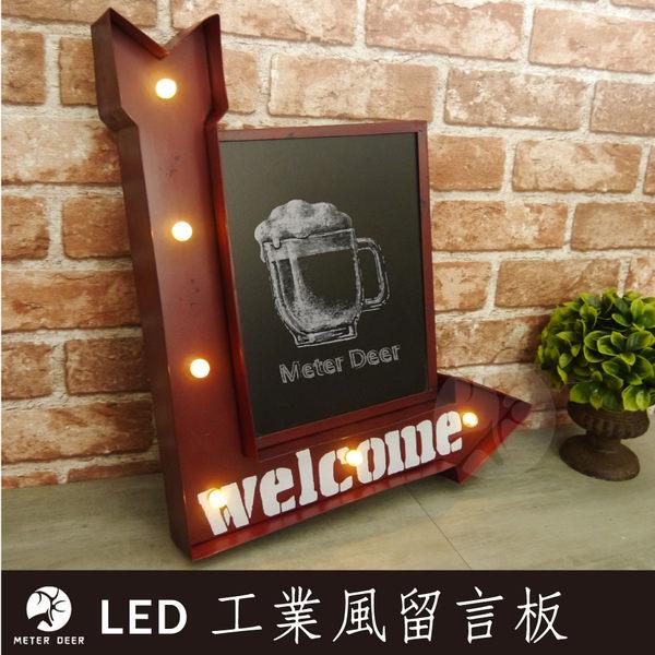 黑板 復古工業風留言板LED燈 welcome鐵藝立體指示路標造型 促銷告示板店面牆壁裝飾-米鹿家居
