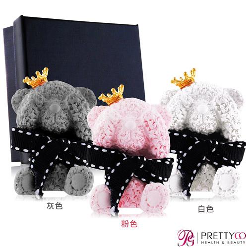 O Pretty 歐沛媞 室內/車用 香氛擴香石擺飾-灰色泰迪毛毛熊(皇冠)(5X3.5X2.5CM)