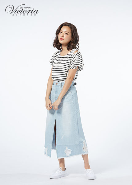 Victoria 挖肩設計荷葉波浪短袖-女
