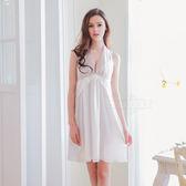 大尺碼Annabery純白緞面兩穿禮服式睡衣 【SV7698】快樂生活網