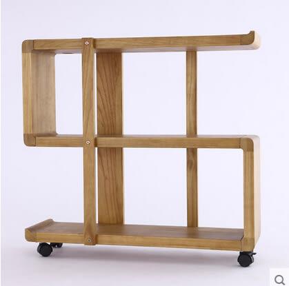 日式家居收納帶輪可移動架子置物架落地客廳實木質書架書櫃