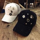 帽子女春夏天蕾絲棒球帽新款潮韓版鑲鑚時尚百搭休閒鴨舌帽遮陽帽   初見居家