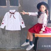 女童襯衫長袖刺繡兒童秋裝上衣中大童白襯衣2018新款小學生打底衫