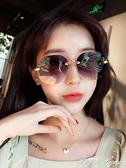 歐美切邊新款無框太陽鏡大框個性網紅明星款蛤蟆鏡墨鏡女眼鏡 范思蓮思