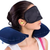 ✭慢思行✭【K88-1】氣枕眼罩耳塞三件組 旅行 旅遊 戶外 午休 上班族 飛機 睡眠 防噪音 充氣
