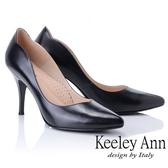 2019  _Keeley Ann  素面流線感全真皮高跟鞋黑色