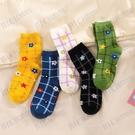 韓國ulzzang方格泫雅花朵中筒襪日系復古格子少女文藝森系襪子