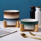陶瓷木架碗寵物水碗食盆中小型犬貓咪水碗 防打翻一套碗( 竹木架)