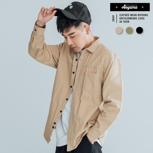 長袖襯衫 硬派工裝單口袋厚磅長袖襯衫【K88103】寬鬆 落肩 素面襯衫 長袖 美式工裝