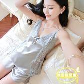 絲綢睡衣女夏吊帶套裝兩件套性感短褲寬松極度誘惑性感家居服新款