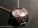 ☆§海洋盒子§☆ 簍空月牙橢圓形亮眼鋯石玫瑰金鋼製項鍊