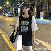 藍球服女寬鬆bf風韓版夏季新款中長款短袖t恤假兩件ins潮上衣 居家物語