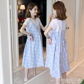 孕婦夏裝洋裝時尚款潮媽短袖上衣夏季大碼長款碎花孕婦裙子「安妮塔小鋪」