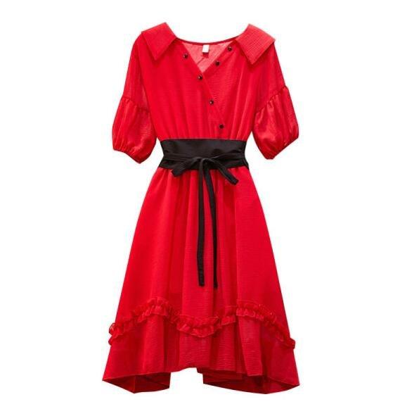 洋裝連身裙中大尺碼L-4XL中長款收腰顯瘦紅色減齡仙女裙子2F070-8154.皇潮天下