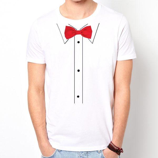 Print Bow Tie-Red短袖T恤-白色 印刷紅領結 領帶 眼鏡 鬍鬚 文青 藝術 t-shirt Gildan