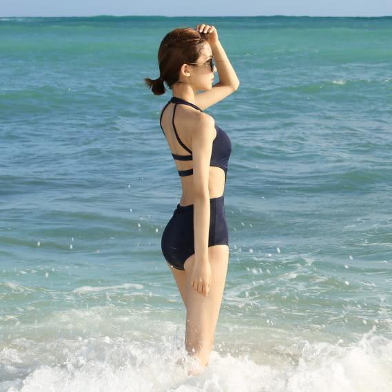 梨卡★現貨 - 黑色性感顯瘦火辣後挖洞露背露腰提臀連身泳衣泳裝比基尼CR264