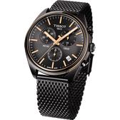 TISSOT天梭 PR100 經典米蘭帶計時手錶-鍍黑/41mm T1014172306100