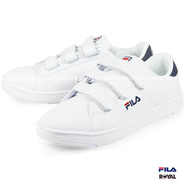 FILA 新竹皇家 4-C905R-100 經典款 皮革 魔鬼氈 休閒鞋 男款 No.A9141