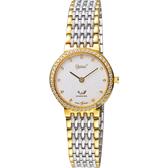 Ogival 愛其華 薄型珠光流沙金蔥真鑽女錶-銀x雙色/27mm 385-35DLSK