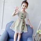 女童洋裝女童連身裙夏裝新款古裝改良格子女孩公主裙夏季兒童旗袍裙子 快速出貨