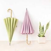 太陽結實可愛家用遮陽傘女款雨傘粉紅色女兩用傘加固晴雨中長款