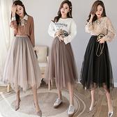 韓版兩面穿金絲絨網紗半身裙大擺蓬蓬裙百褶裙DJB07快時尚FFA049快時尚