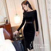 長袖禮服  名媛連衣裙春裝2018新款女裝絲絨中長款修身顯瘦包臀長袖氣質禮服