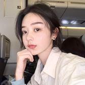韓國少女心復古撞色幾何拼接彩色耳釘精致簡約pu質感短發耳環R898【端午節免運限時八折】