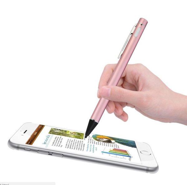 可充電主動式電容筆 高精度超細金屬銅頭觸控筆 繪畫 極細電容手寫筆 手機平板 iPad iPhone
